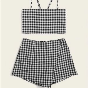 Gingham Self-tie Cami Top and Skorts Set